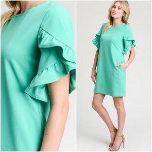 Short sleeve ruffle sleeve dress mint green